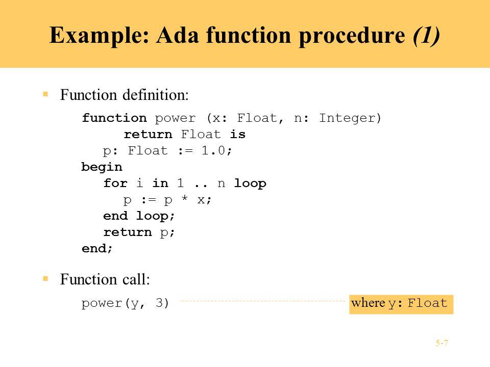 5-8 Example: Ada function procedure (2)  Recursive function definition: function power (x: Float, n: Integer) return Float is begin if n = 0 then return 1.0; else return x * power(x, n-1); end if; end;