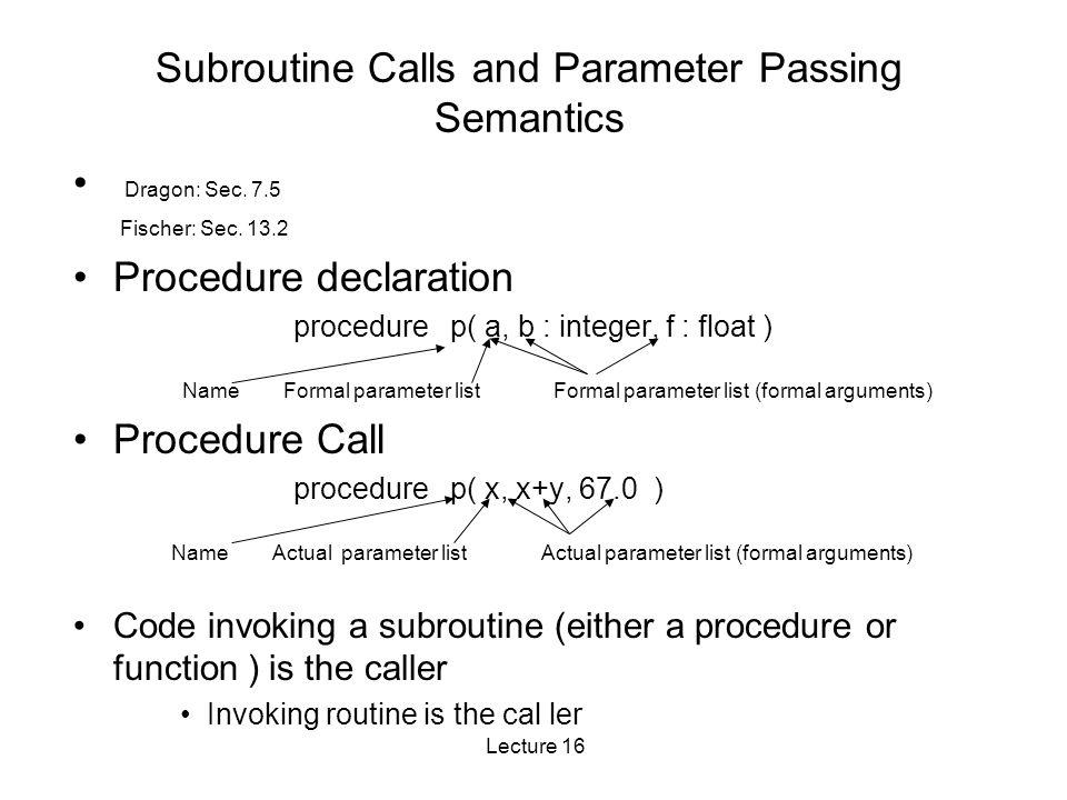 Lecture 16 Subroutine Calls and Parameter Passing Semantics Dragon: Sec.