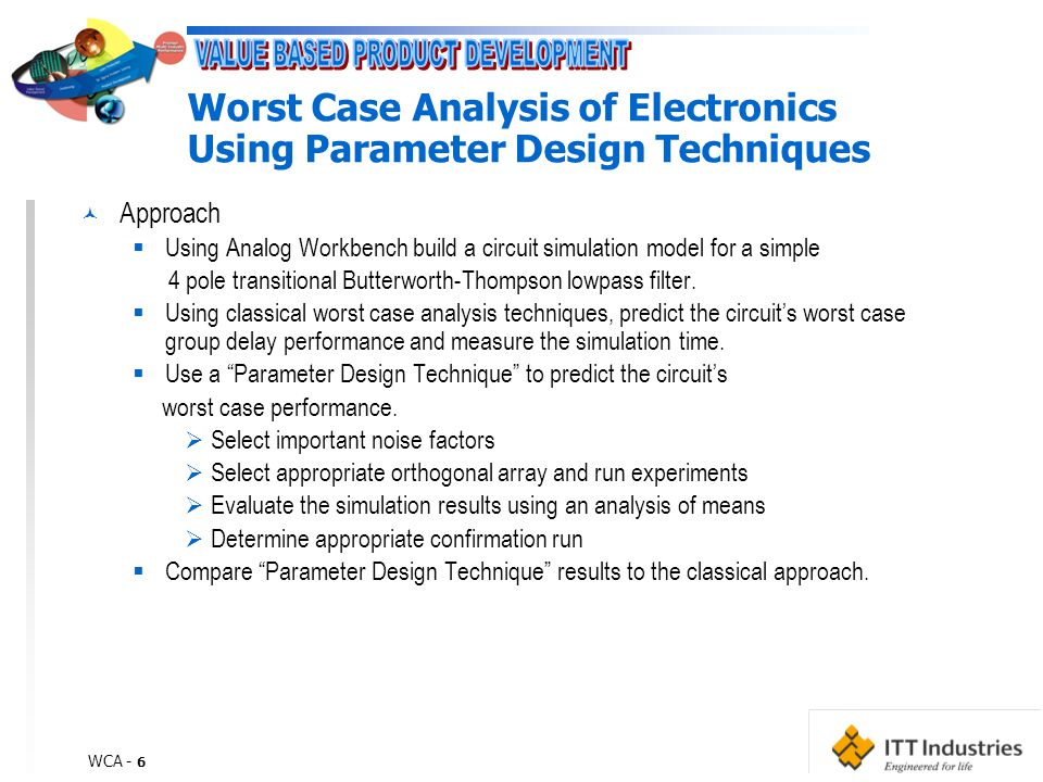 WCA - 6 Worst Case Analysis of Electronics Using Parameter Design Techniques © Approach  Using Analog Workbench build a circuit simulation model for a simple 4 pole transitional Butterworth-Thompson lowpass filter.