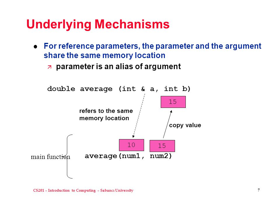 CS201 – Introduction to Computing – Sabancı University 7 Underlying Mechanisms l For reference parameters, the parameter and the argument share the same memory location ä parameter is an alias of argument double average (int & a, int b) average(num1, num2) 10 15 refers to the same memory location copy value main function