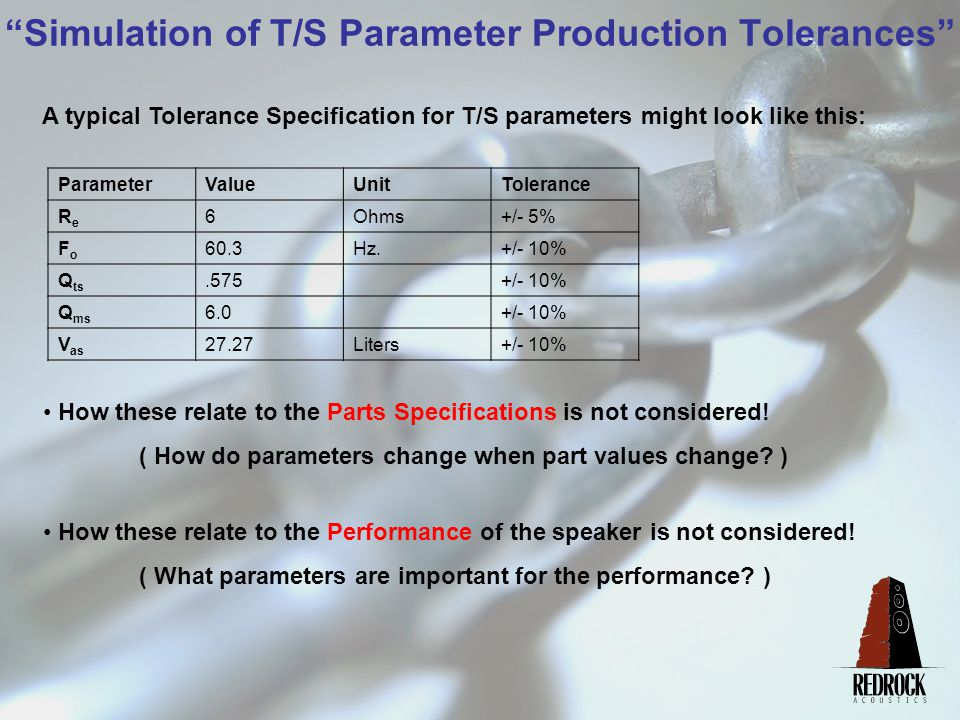 Simulation of T/S Parameter Production Tolerances What we need to do is: Identify how part changes affect parameters (especially the important ones) Set parameter tolerances that are based on reasonable parts tolerances.