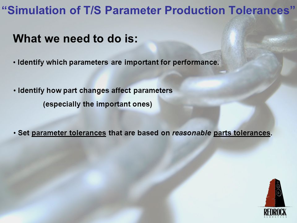 Simulation of T/S Parameter Production Tolerances Which parameters are important for performance.