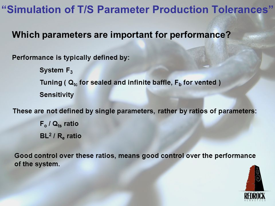 Simulation of T/S Parameter Production Tolerances Summary using Tolerance Worksheet: Large Changes in Cone F o and Spider Deflection have little affect on important parameters.