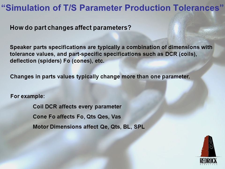 Simulation of T/S Parameter Production Tolerances How do part changes affect parameters.