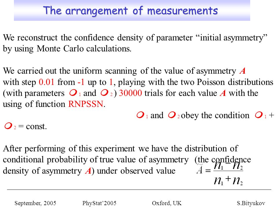 The arrangement of measurements The arrangement of measurements September, 2005 PhyStat'2005 Oxford, UKS.Bityukov We reconstruct the confidence density of parameter initial asymmetry by using Monte Carlo calculations.