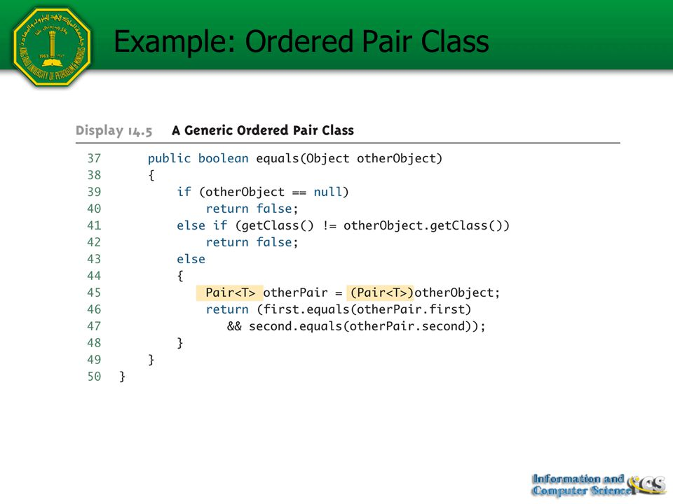 Example: Using Ordered Pair Class