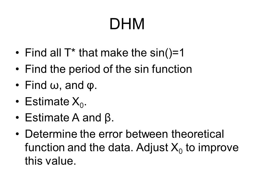 Find all T* that make the sin()=1 Find the period of the sin function Find ω, and φ.