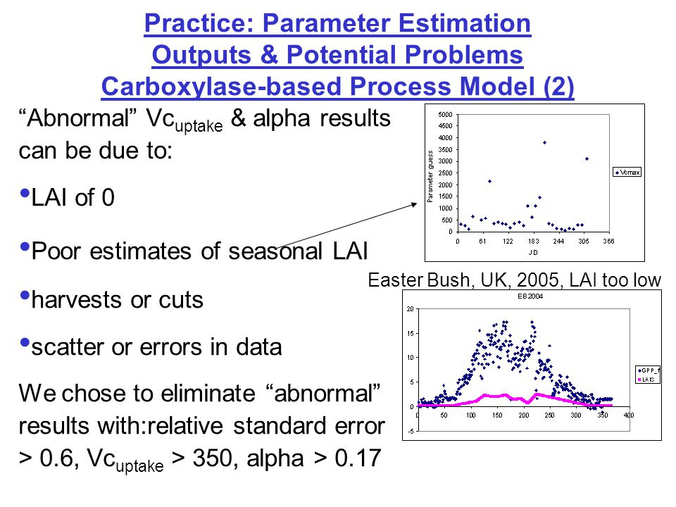 "Practice: Parameter Estimation Outputs & Potential Problems Carboxylase-based Process Model (2) ""Abnormal"" Vc uptake & alpha results can be due to: LA"