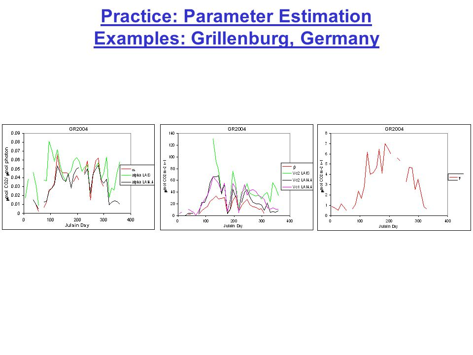 Practice: Parameter Estimation Examples: Grillenburg, Germany