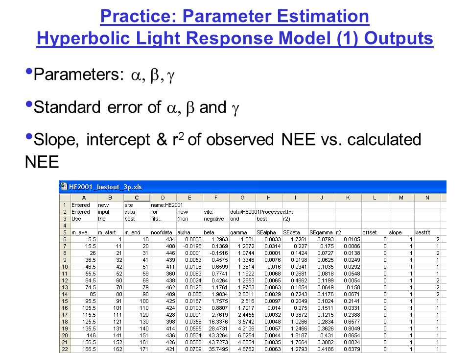 Practice: Parameter Estimation: Outputs & Potential Problems: Hyperbolic Light Response Model (1) abnormal  results can be due to: Winter periods with little light response Strong scatter in NEE & PPFD relationship (due to cut or harvest) Poor starting values of  - results stuck in local minima We chose to eliminate abnormal results with:relative standard error > 0.6,  > 0.17,  > 100,  > 15