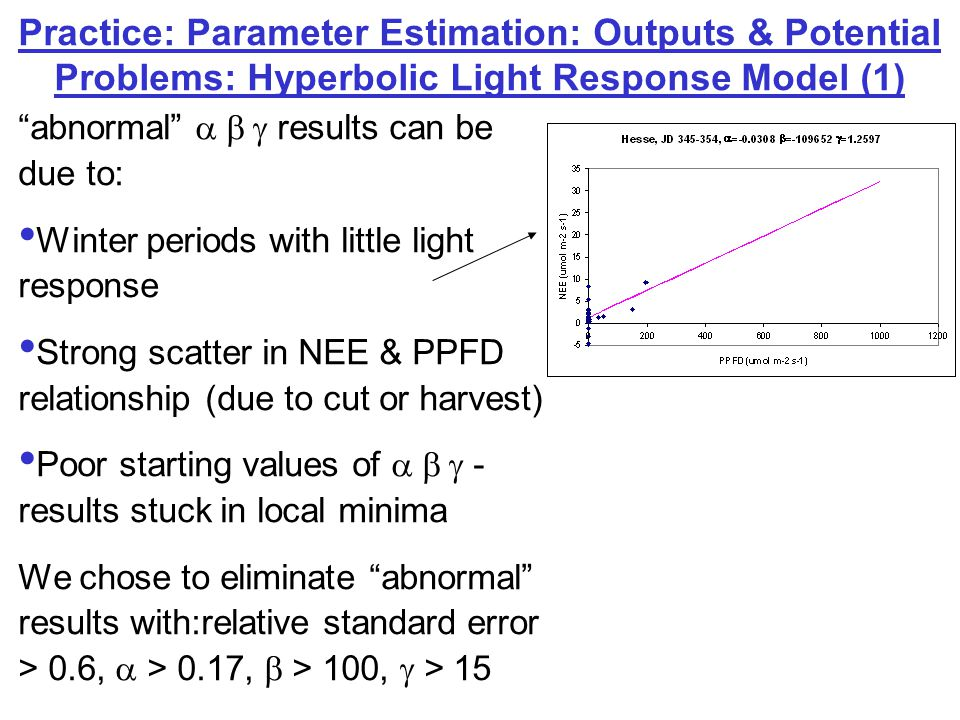 Practice: Parameter Estimation: How the Physiological Carboxylase-based Process Model (2) works Define LAI: constant or seasonally changing from file Calculate static geometric attributes of the canopy (diffuse & direct radiation on leaf surfaces-sunlit & shaded) Iteratively calculate energy balance throughout canopy (leaf temperature, incoming and outgoing shortwave & longwave radiation, estimated GPP) Define latitude, longitude, vegetation type gfx input file Read in half- hourly meteo & flux input file Output: (Vc uptake2* and alpha) or (Vc uptake1* ) parameters for 10 day periods