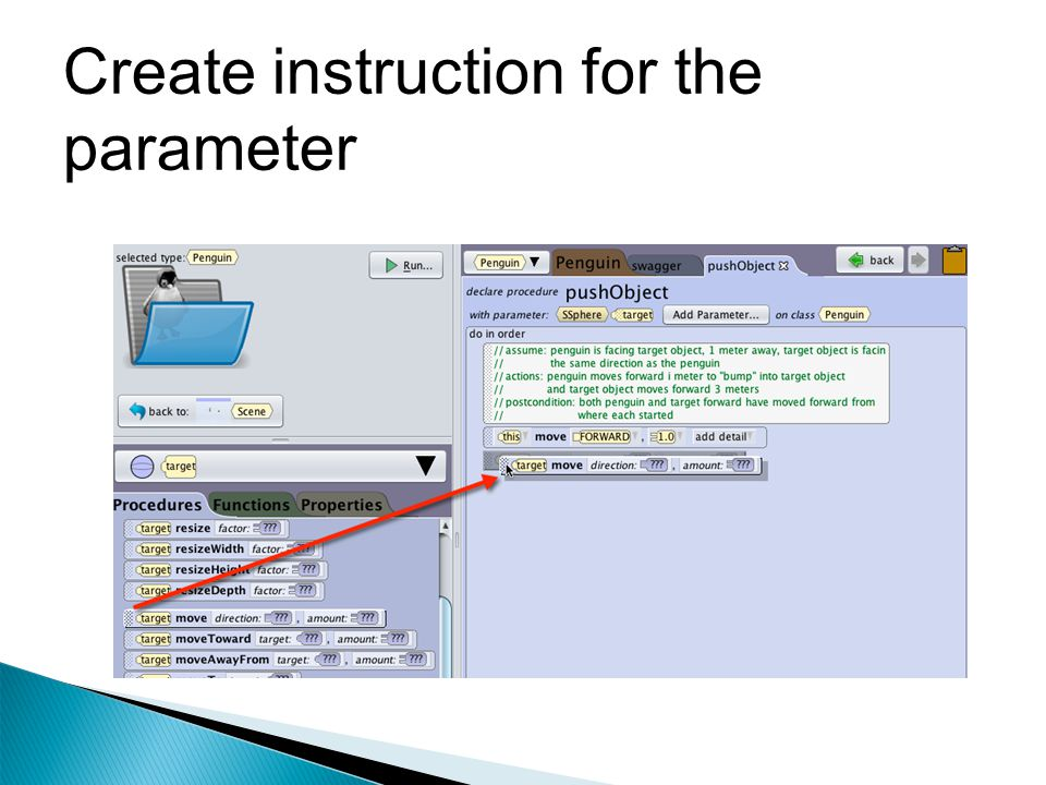 Create instruction for the parameter