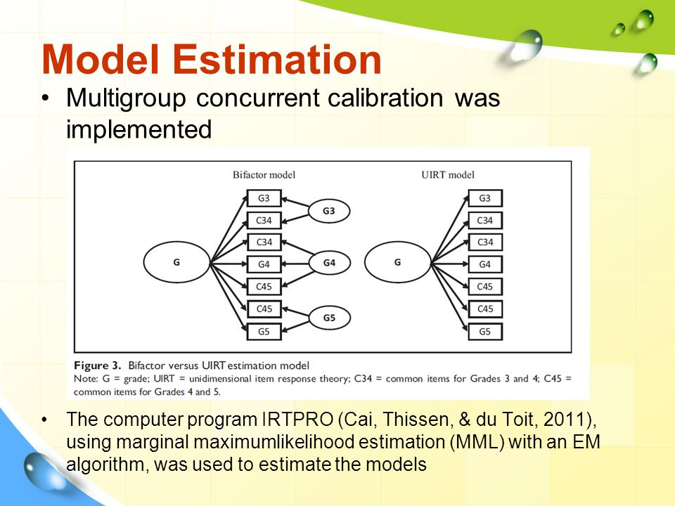 Model Estimation Multigroup concurrent calibration was implemented The computer program IRTPRO (Cai, Thissen, & du Toit, 2011), using marginal maximum