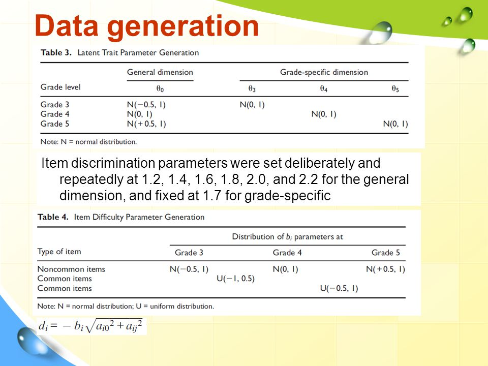 Data generation Item discrimination parameters were set deliberately and repeatedly at 1.2, 1.4, 1.6, 1.8, 2.0, and 2.2 for the general dimension, and