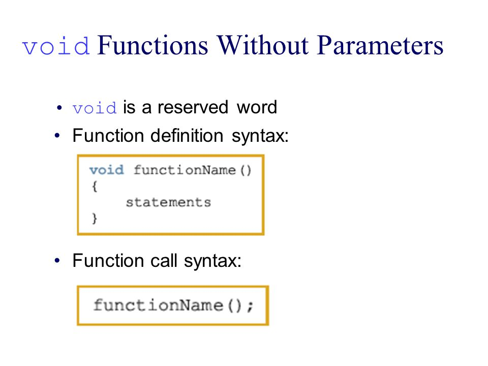 void Functions Without Parameters void is a reserved word Function definition syntax: Function call syntax: