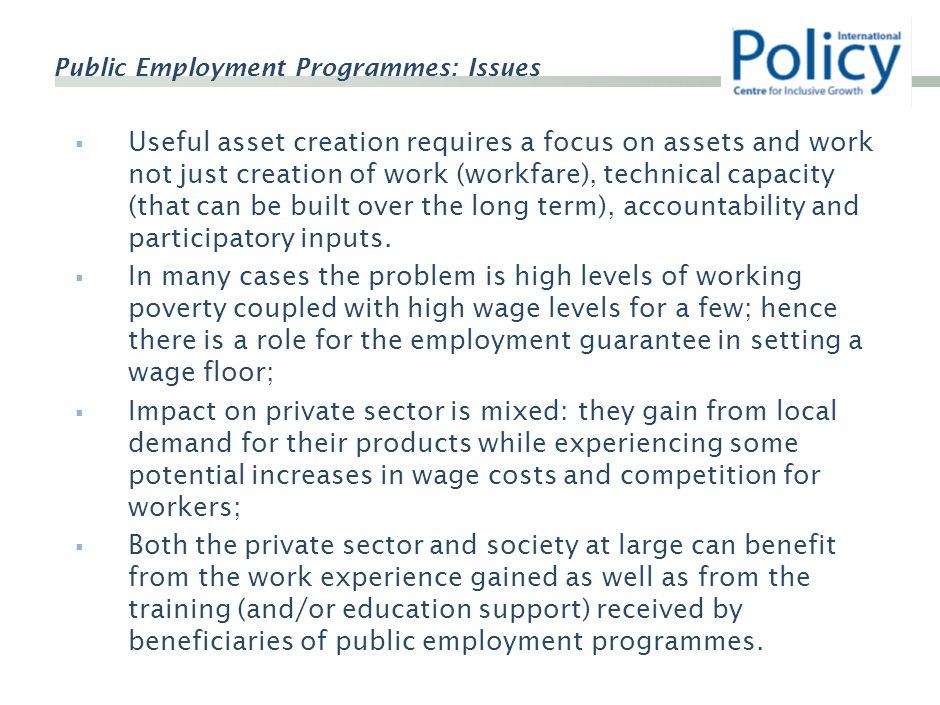 Public Employment Programmes: Issues  Useful asset creation requires a focus on assets and work not just creation of work (workfare), technical capacity (that can be built over the long term), accountability and participatory inputs.