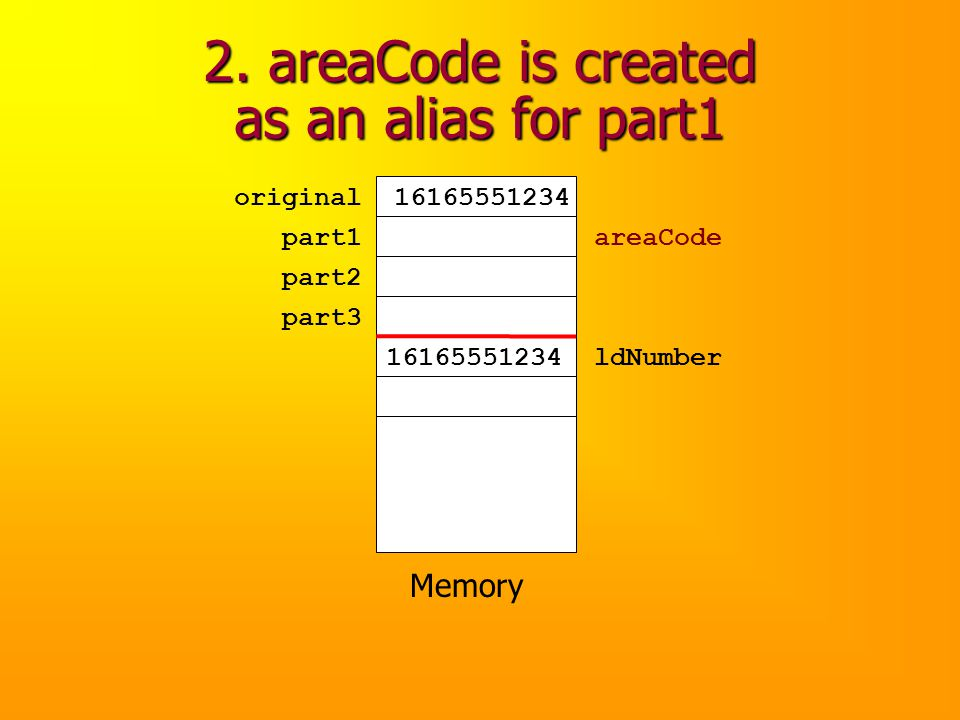 2. areaCode is created as an alias for part1 Memory original part1 part2 part3 16165551234 ldNumber16165551234 areaCode