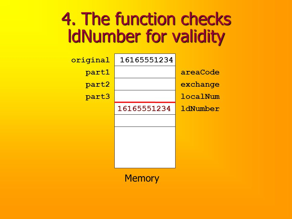 4. The function checks ldNumber for validity Memory original part1 part2 part3 16165551234 ldNumber16165551234 areaCode exchange localNum