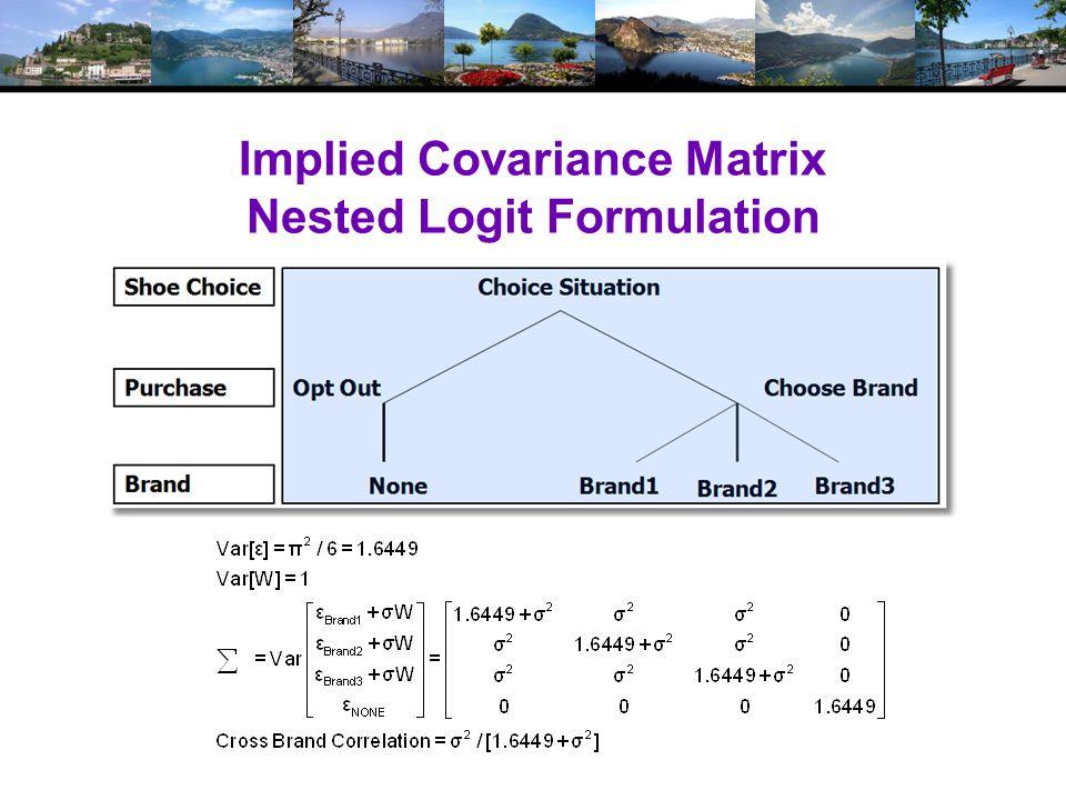 Implied Covariance Matrix Nested Logit Formulation