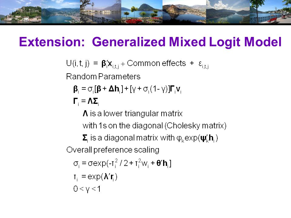 Extension: Generalized Mixed Logit Model