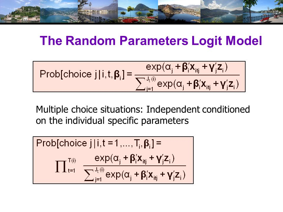 Modeling Variations Parameter specification Nonrandom – variance = 0 Correlation across parameters – random parts correlated Fixed mean – not to be estimated.