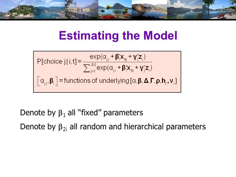 Estimating the RPL Model Estimation:  1  2it =  2 + Δh i + Γv i,t Uncorrelated: Γ is diagonal Autocorrelated: v i,t = Rv i,t-1 + u i,t (1) Estimate structural parameters (2) Estimate individual specific utility parameters (3) Estimate elasticities, etc.