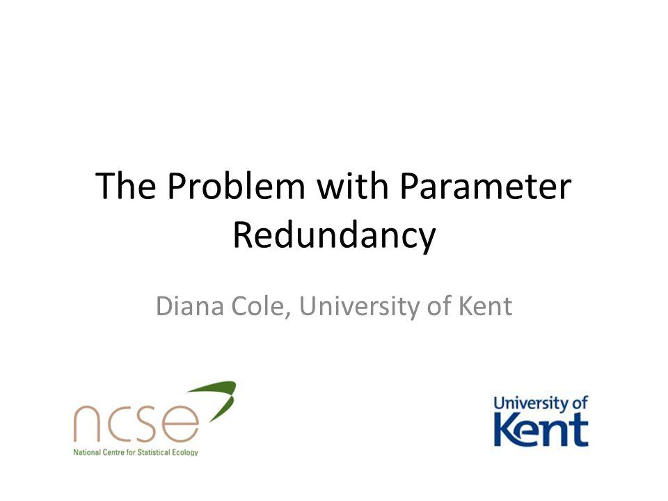 The Problem with Parameter Redundancy Diana Cole, University of Kent