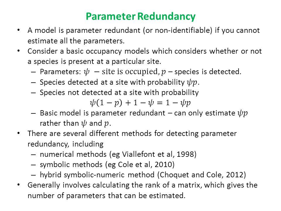Parameter Redundancy