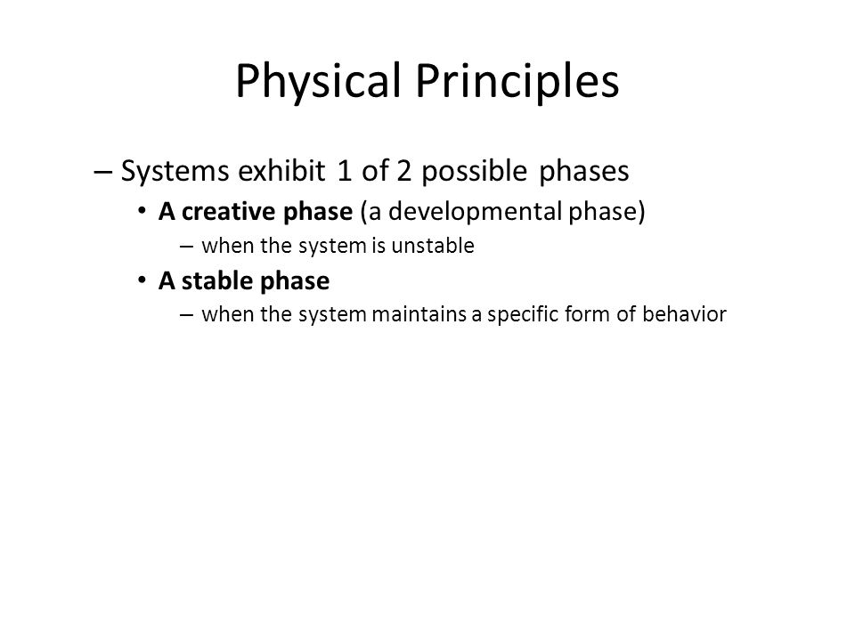 Physical Principles – Systems exhibit 1 of 2 possible phases A creative phase (a developmental phase) – when the system is unstable A stable phase – when the system maintains a specific form of behavior