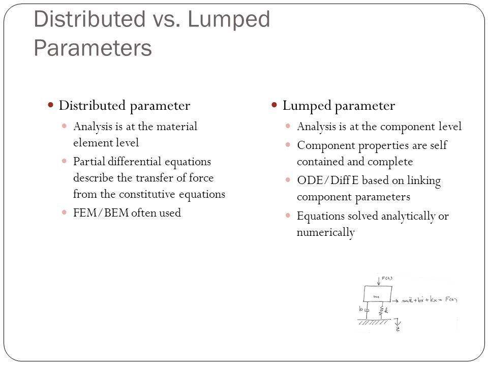 Distributed vs. Lumped Parameters Distributed parameter Analysis is at the material element level Partial differential equations describe the transfer