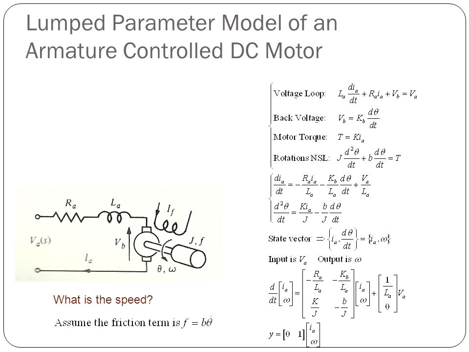 Lumped Parameter Model of an Armature Controlled DC Motor What is the speed