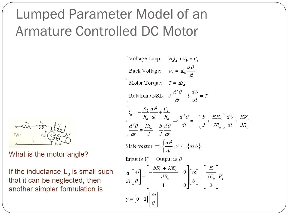Lumped Parameter Model of an Armature Controlled DC Motor What is the motor angle.