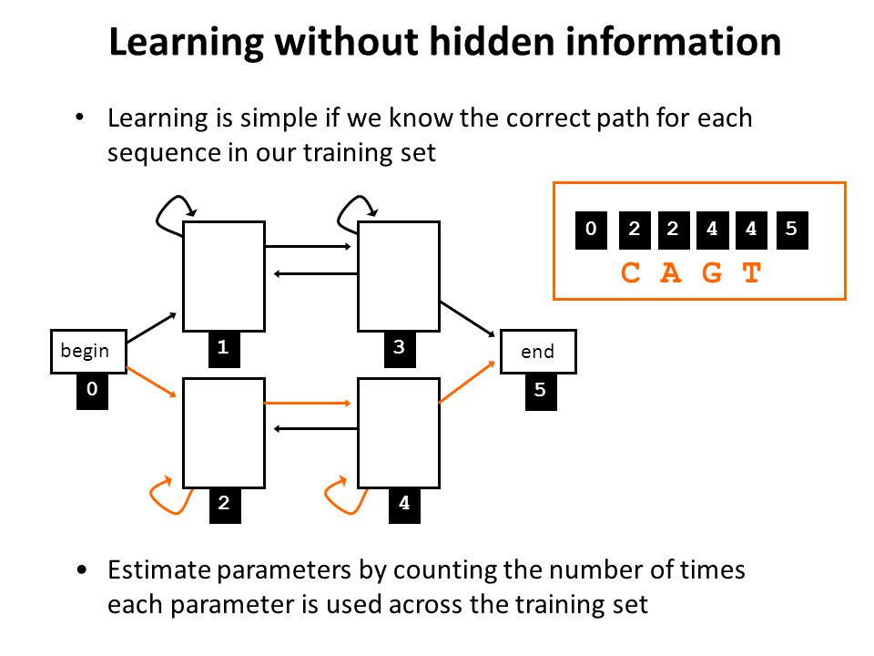 Learning without hidden information Learning is simple if we know the correct path for each sequence in our training set Estimate parameters by counti