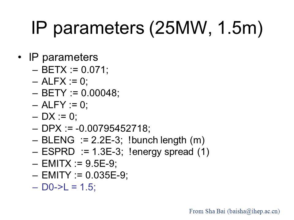 IP parameters (25MW, 1.5m) IP parameters –BETX := 0.071; –ALFX := 0; –BETY := 0.00048; –ALFY := 0; –DX := 0; –DPX := -0.00795452718; –BLENG := 2.2E-3; !bunch length (m) –ESPRD := 1.3E-3; !energy spread (1) –EMITX := 9.5E-9; –EMITY := 0.035E-9; –D0->L = 1.5; From Sha Bai (baisha@ihep.ac.cn)