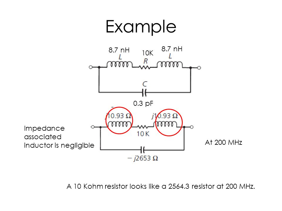 Example 8.7 nH 10K 0.3 pF At 200 MHz Impedance associated inductor is negligible A 10 Kohm resistor looks like a 2564.3 resistor at 200 MHz.