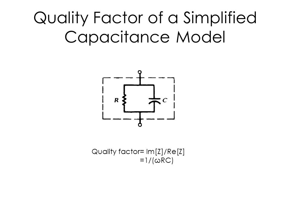 Quality Factor of a Simplified Capacitance Model Quality factor= Im[Z]/Re[Z] =1/(ωRC)