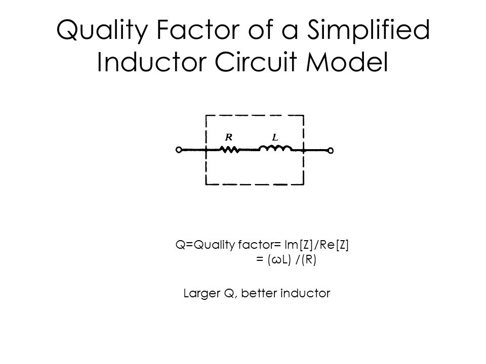 Quality Factor of a Simplified Inductor Circuit Model Q=Quality factor= Im[Z]/Re[Z] = (ωL) /(R) Larger Q, better inductor