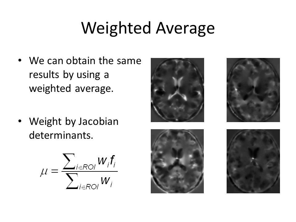 Weighted Average Jacobian scaled warped imagesJacobian determinants