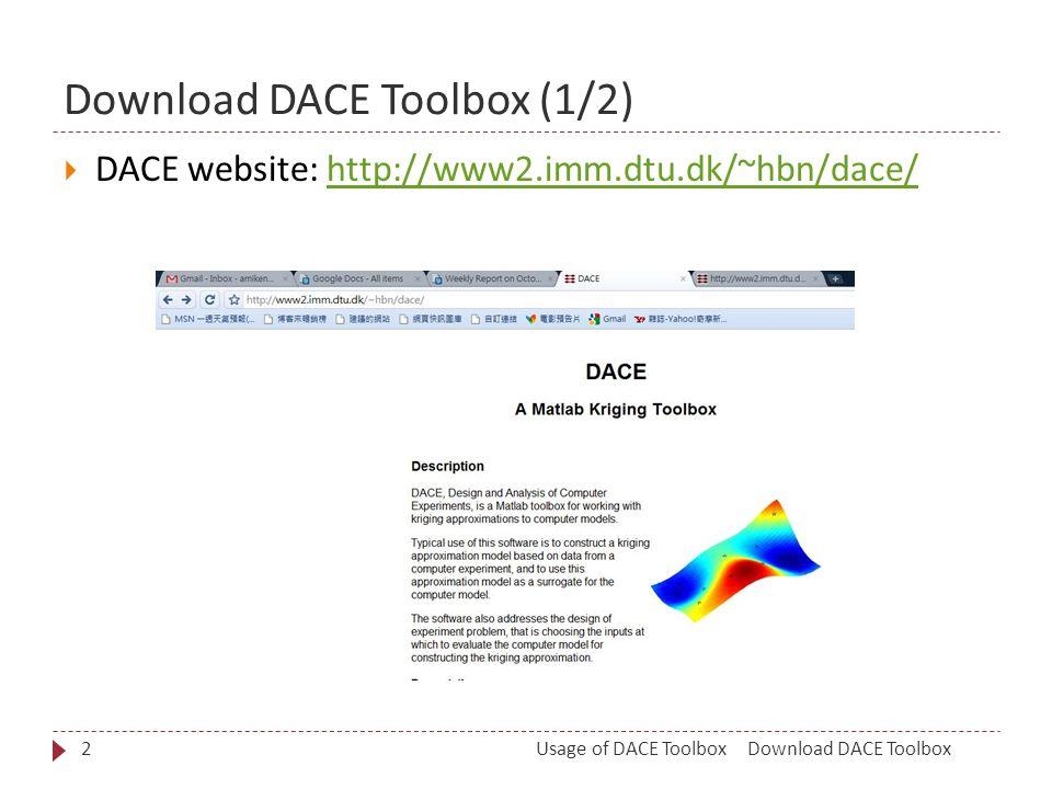 Download DACE Toolbox (1/2) Download DACE ToolboxUsage of DACE Toolbox2  DACE website: http://www2.imm.dtu.dk/~hbn/dace/http://www2.imm.dtu.dk/~hbn/dace/