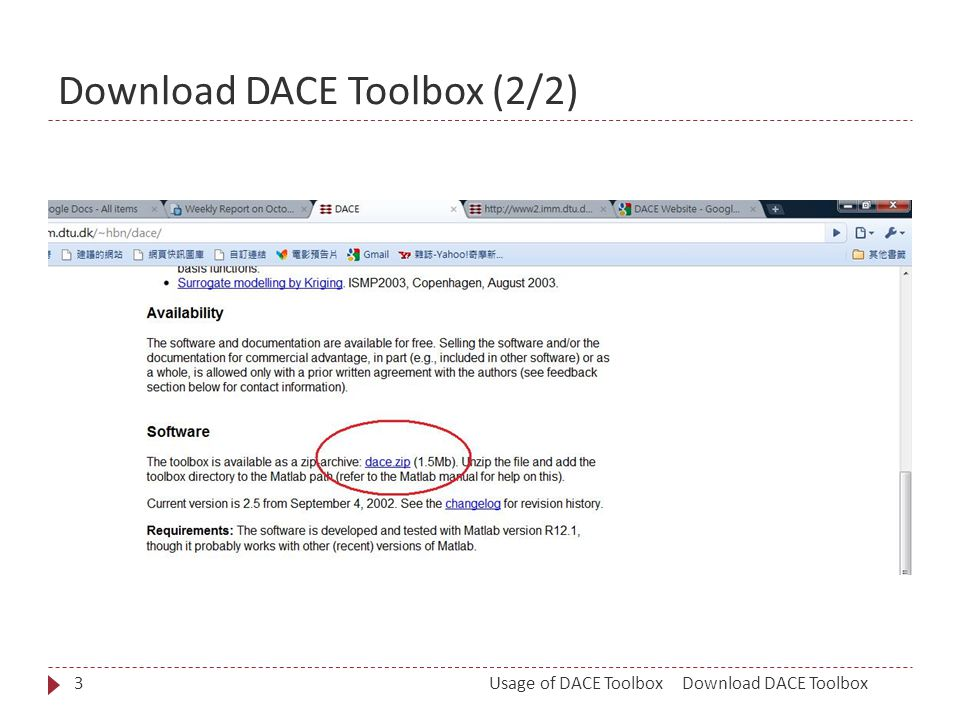 Download DACE Toolbox (2/2) Download DACE ToolboxUsage of DACE Toolbox3