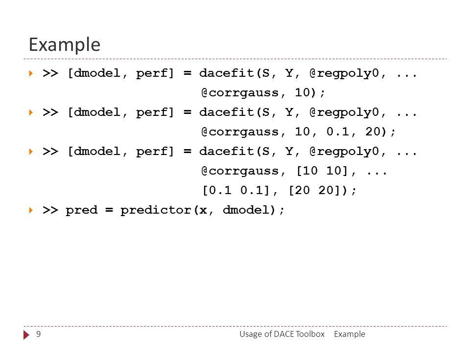 Example  >> [dmodel, perf] = dacefit(S, Y, @regpoly0,...