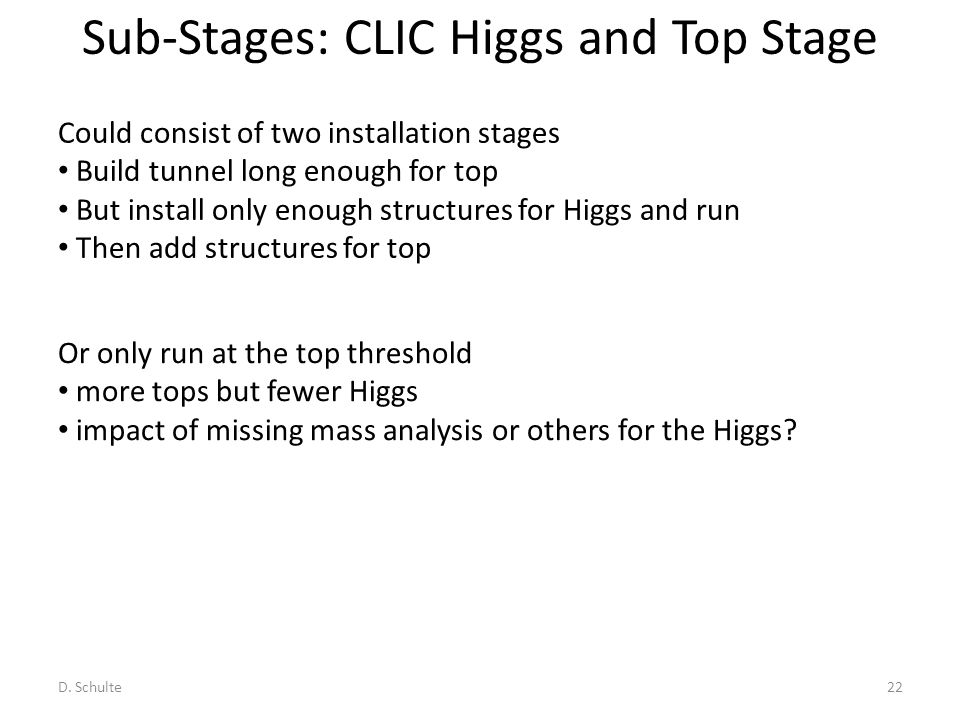 Sub-Stages: CLIC Higgs and Top Stage D. Schulte22 Could consist of two installation stages Build tunnel long enough for top But install only enough st