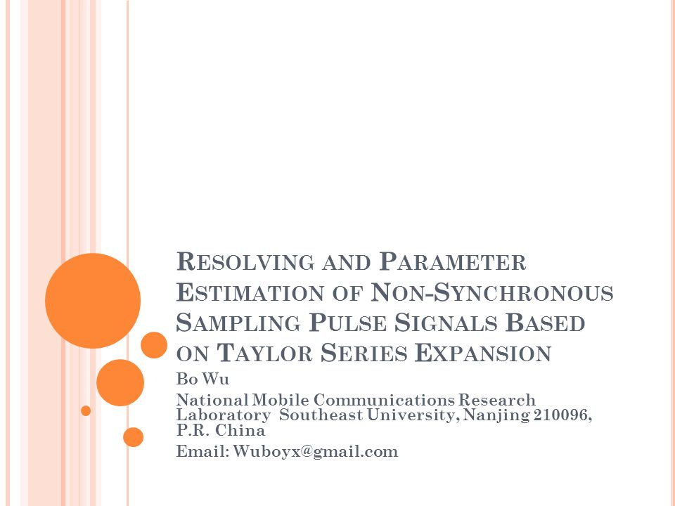 I NTRODUCTION Overlapped pulse signals detection in white noise has been widely discussed, the well-known matched filter maximizes signal-to-noise ratio in the presence of Gaussian wideband noise.