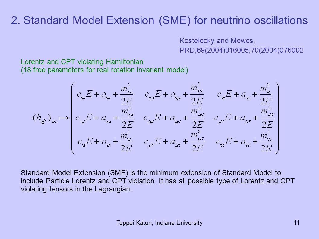 Teppei Katori, Indiana University11 Lorentz and CPT violating Hamiltonian (18 free parameters for real rotation invariant model) Standard Model Extension (SME) is the minimum extension of Standard Model to include Particle Lorentz and CPT violation.