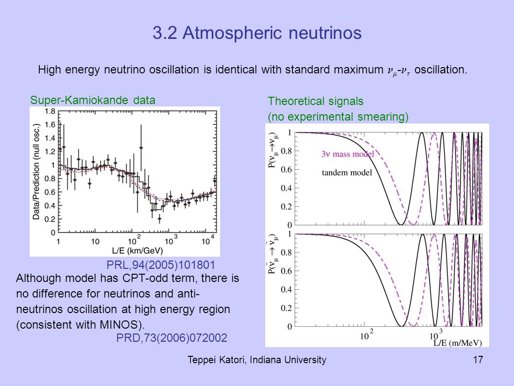 Teppei Katori, Indiana University17 3.2 Atmospheric neutrinos Although model has CPT-odd term, there is no difference for neutrinos and anti- neutrinos oscillation at high energy region (consistent with MINOS).