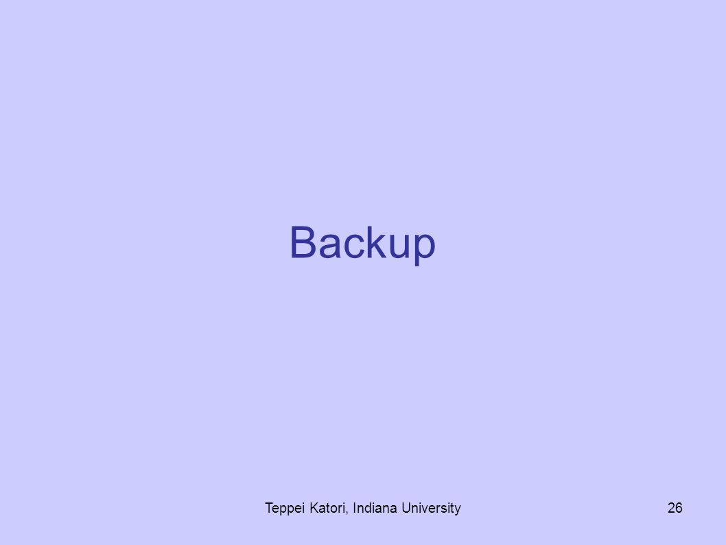 Teppei Katori, Indiana University26 Backup