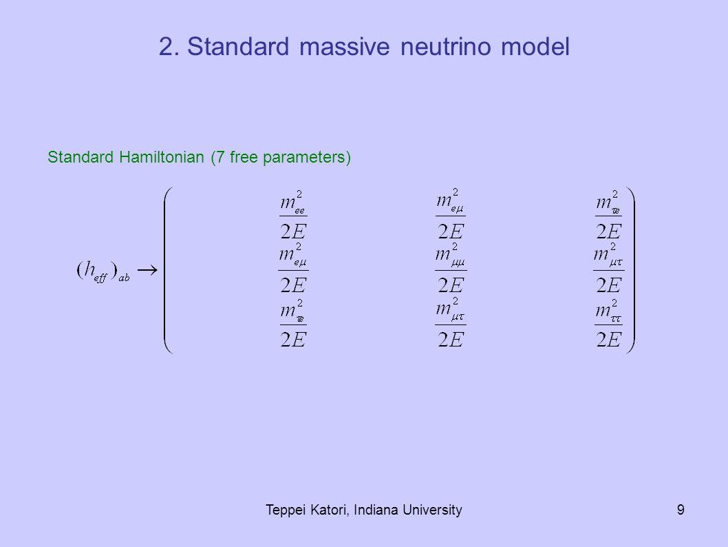 Teppei Katori, Indiana University9 Standard Hamiltonian (7 free parameters) 2. Standard massive neutrino model