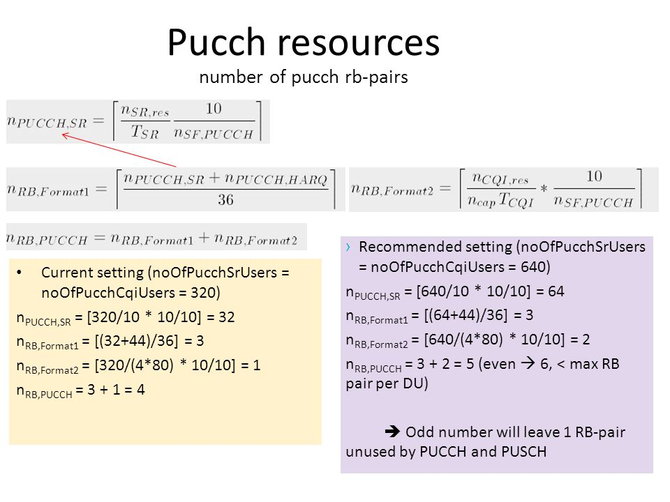 Pucch resources number of pucch rb-pairs › Recommended setting (noOfPucchSrUsers = noOfPucchCqiUsers = 640) n PUCCH,SR = [640/10 * 10/10] = 64 n RB,Fo