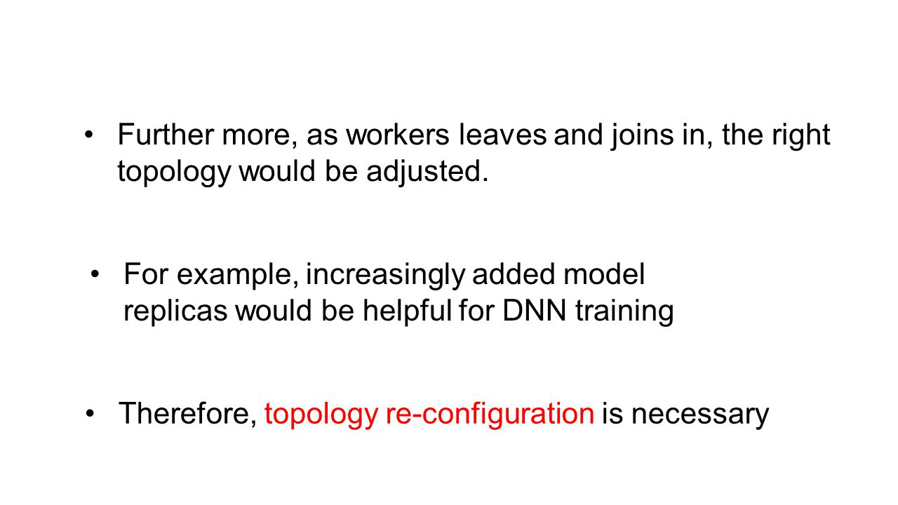 Further more, as workers leaves and joins in, the right topology would be adjusted. Therefore, topology re-configuration is necessary For example, inc