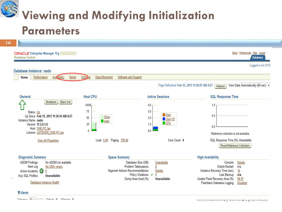 Viewing and Modifying Initialization Parameters Information Systems Department 10